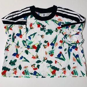 Adidas Originals White Floral Crop Top